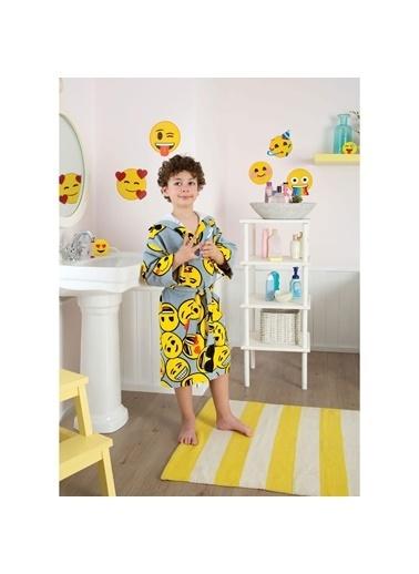 Taç Emoji Çocuk Bornoz 8-10 Yaş Renkli